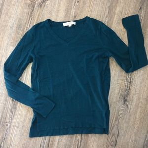 Loft Turquoise/ Green Long Sleeve Uneven Sweater